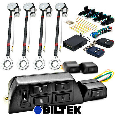 Electric 4 Power Roll Up Window Motor Conversion Kit   Remote Door Lock For Car