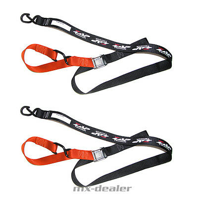 ZAP Motocross Spanngurte MX Tie downs orange 2 teilig Enduro Quad soft hook