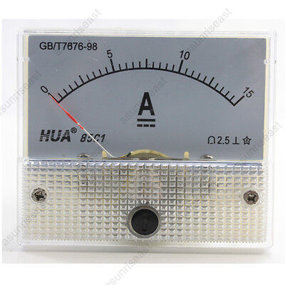 1 Dc 15a Analog Panel Amp Current Meter Ammeter Gauge 85c1 White 0-15a Dc