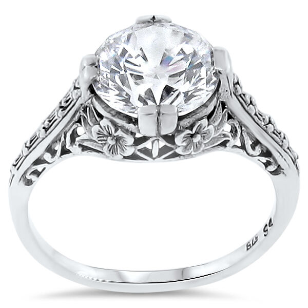 WEDDING ENGAGEMENT .925 STERLING SILVER ANTIQUE STYLE CZ RING SIZE 6,       #123