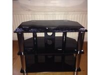 Black Glasses TV Stand In Perfect Condition