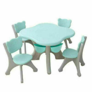 Children's Kids Solid Table and 4 Chair Set