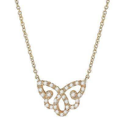 NEW 14k YELLOW GOLD DIAMOND BUTTERFLY PENDANT LARIAT NECKLACE JEWELRY Diamond Butterfly Pendant Jewelry