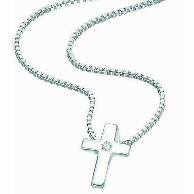 D for Diamond Kids Silver Diamond Set Children's Cross And Chain RRP £28.00 p800 Childrens Diamond Set Cross