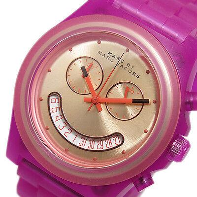 NWT Marc Jacobs Womens Watch Pink Acrylic Bracelet SMILE FACE RAVER MBM4575 $175