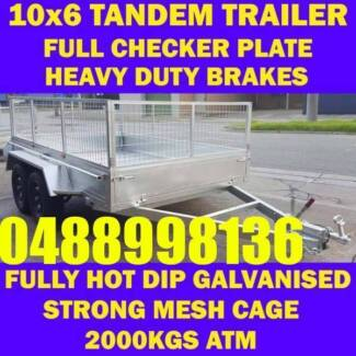 10X6 GALVANISED TANDEM TRAILER BOX TRAILER WITH CAGE 2000KGS sa