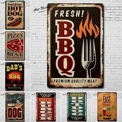 Retro Blechschild Metallschild BBQ Grillen Restaurant Cafe Vintage