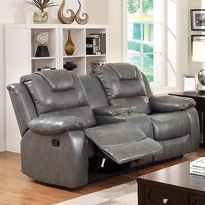 Gray Recliner Sofa Loveseat Bonded Leather Theater Seating C