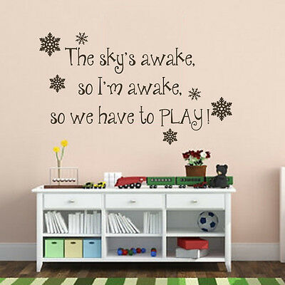 Frozen Inspired Wall Decal The Sky's Awake Saying Vinyl Baby Playroom Decor Idea - Frozen Decorations Ideas