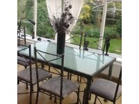 Frosted glass top table and 6 chairs