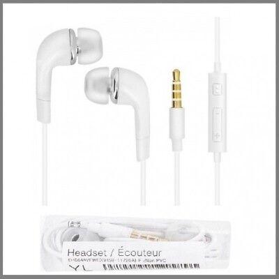 Samsung Galaxy S3 S4 S5 S6 S7 S8 Stereo Headset Kopfhörer Weiß Earphone Handfree ()