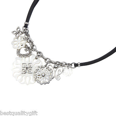 NEW FOSSIL SILVER MULTI-CHARM+MOP+CRYSAL+BLACK LEATHER NECKLACE-JF83100040+TAG ()