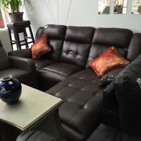 Sofa sectionnel Inclinable en cuir brun, gris ou noir
