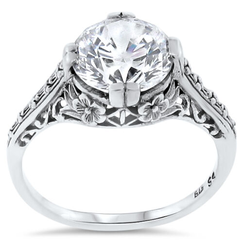 WEDDING ENGAGEMENT .925 STERLING SILVER ANTIQUE STYLE CZ RING,    #123