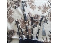 Full silver bagpipes