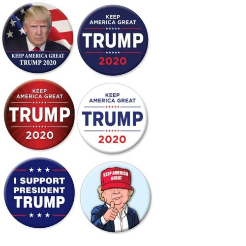 Set of 6 Donald Trump For President 2020 Keep America Great Buttons Pins Pinback
