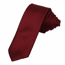 The First Handmade Silk Neck Tie, Striped Red and black