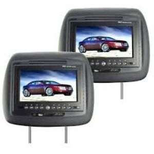 "2 BRAND NEW 8"" DVD HEADRESTS FOR 2010-2012 HYUNDAI SANTA FE"