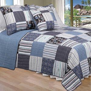 Beautiful Blue Oversized Ocean Plaid Cabin Style Quilt Set