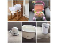 Baby bundle,Moses basket,bottle warmer, top/tail bowl and travel steriliser.