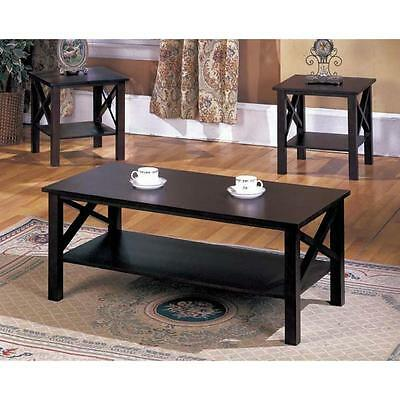 تربيزه جديد K&B 3-piece Merlot Finish Cocktail End Tables Set Coffee Modern Furniture Sofa