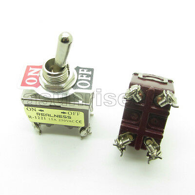 Heavy Duty Toggle Switch Dpst 4 Screw Terminal On-off 2 Position 12mm 15a 250v