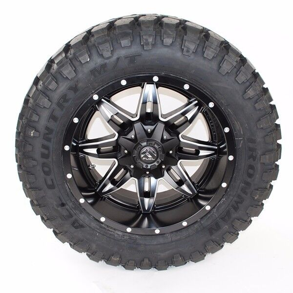 "20"" 20x10 Fuel Lethal 35x12.50r20 Ironman Mt Tires 35"" Silverado F150 Jeep Ram"