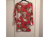 Red & White Tunic Top With Gold Chain Detail - New