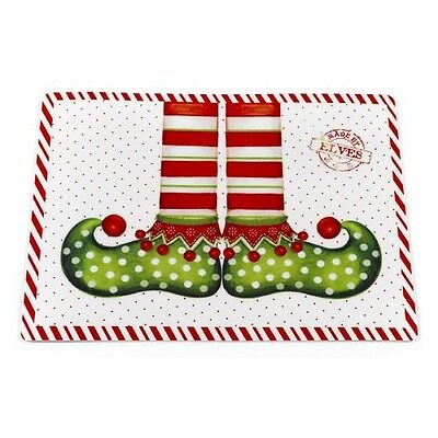 Carnation Home Fashions XPLMT-EL/4 Elf Shoes Holiday Place Mat Set Of 4 NEW