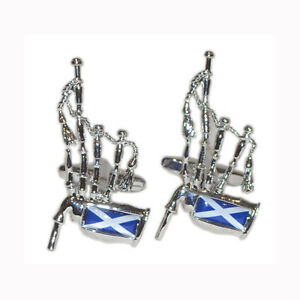 Scottish Saltire Flag Bagpipes Scotsman Scots Piper Birthday Present CUFFLINKS