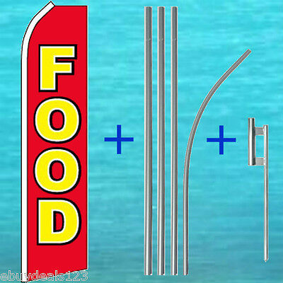 Food Flutter Flag 15 Tall Pole Mount Kit Banner Sign Feather Swooper 1109