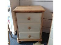 Solid pine /cream bedside drawers