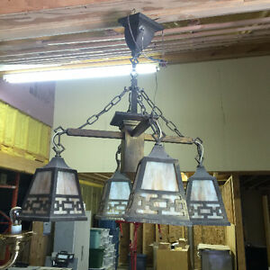 Arts and Crafts Style Chandelier - Vintage Lighting Fixture