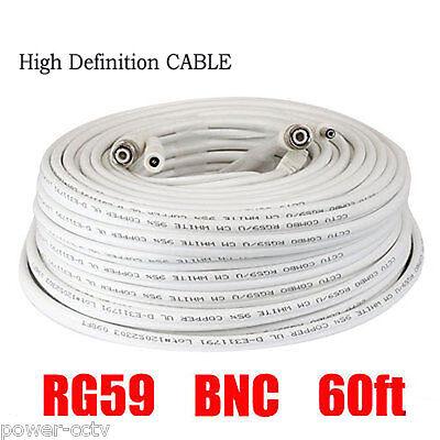 60f Premade RG59 Combo Siamese Coaxial Cable High Definition HD CCTV Camera