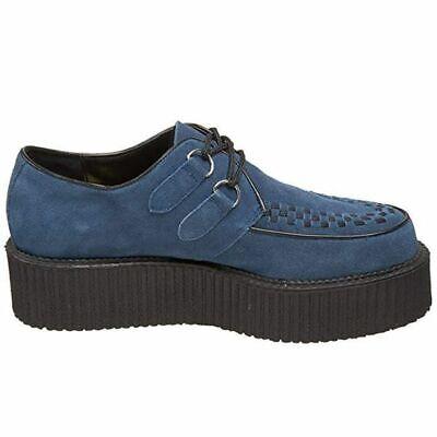 Brand New Demonia Blue Suede Mondo Creepers Shoes - Gothic Punk Industrial - Mondo Creeper Shoe