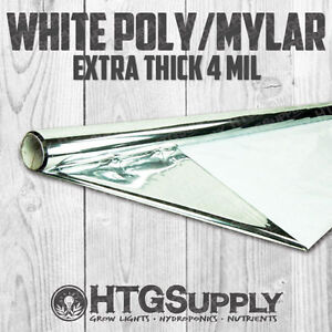 4' x 25' Extra Thick 4 Mil Mylar White Reflective Film Hydroponics 4 Ft. Roll