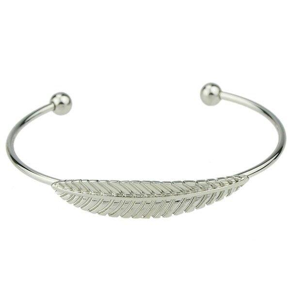 Leaf Shape Embellished Cuff Bracelet