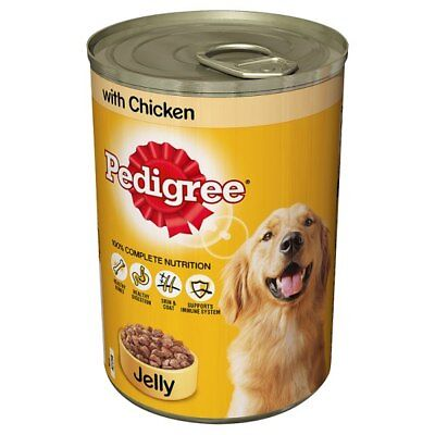 Dog food PEDIGREE TINS IN Jelly Wet Dog Food Canned 12 x 385g / Chicken in Jelly