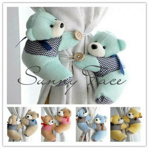 2 x teddy bear curtain tiebacks baby nursery child plush tie backs bedroom toy