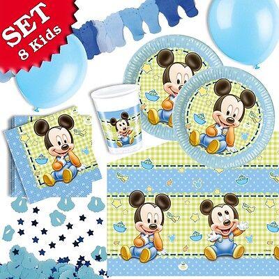 Baby Mickey Mouse Deko Set für Kindergeburtstag, Partyset f.kleine Kinder 49tlg.