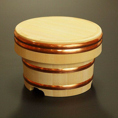 "Japanese Rice tub Ohitsu Wooden jar Edobitsu wood stock warmer 18cm 7"" Handmade"