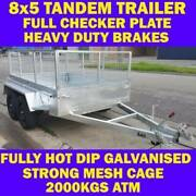 8x5 GALVANISED TANDEM TRAILER WITH CAGE BRAND NEW 2000KG 1 Clayton Monash Area Preview