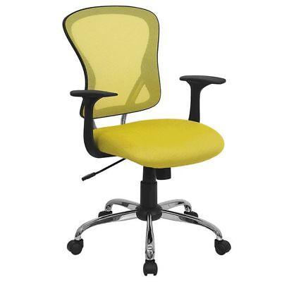 Chrome Base Yellow Mesh Computer Office Desk Chair