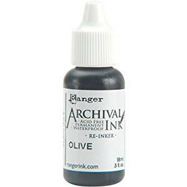 RANGER Archival Reinker .5oz Refill Ink for Stamp Pads Select from 55 colors Olive