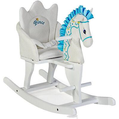 Geschenkidee Holzschaukelpferd Prince Weiß-Blau Schaukel Pferd Schaukeltier NEU
