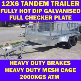 12x6 heavy duty galvanised tandem trailer wth cage 2000kgs 6x12 2