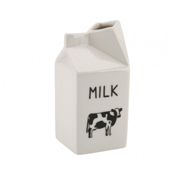 Quirky Vintage Style White Ceramic Milk Carton Cow Jug