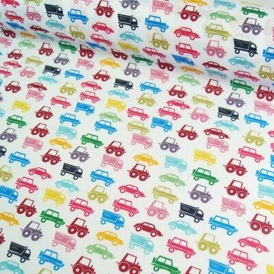 - Polycotton Fabric Multi Coloured Cars Truck Tractors Automobiles