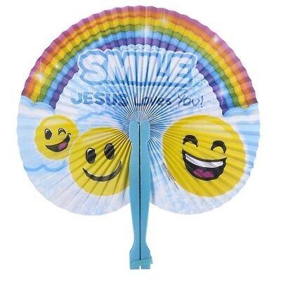 SMILE JESUS LOVES YOU FOLDING FANS!!! birthday party favors kids christian toys