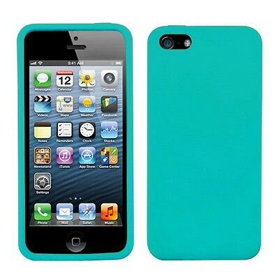Blue Silicone Skin Case Cover (New Light Blue Soft Silicone Case Cover Skin for Apple iPhone 5 5S )